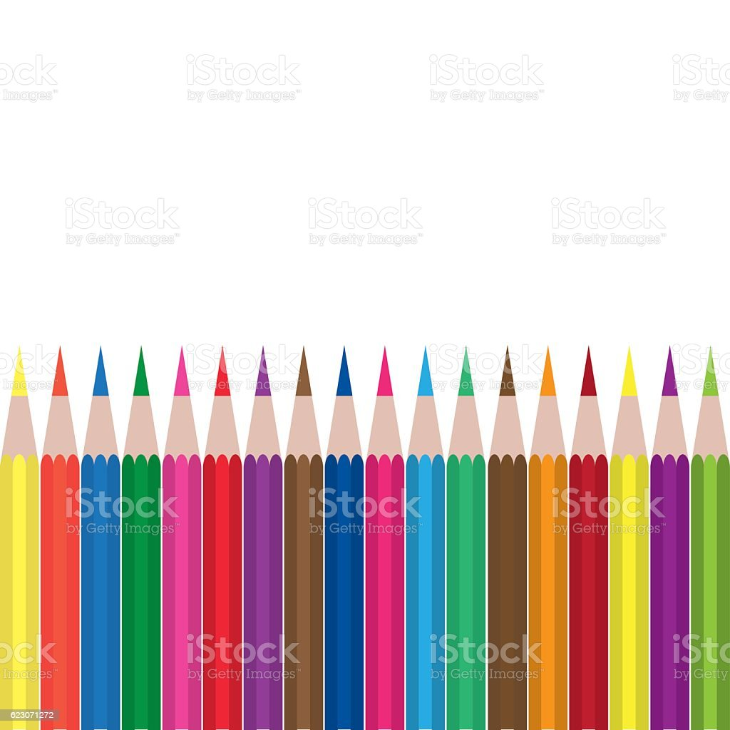 Colored pencils - colored pencil set vector art illustration