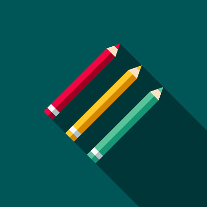 Colored Pencils Flat Design School Supplies Icon with Side Shadow