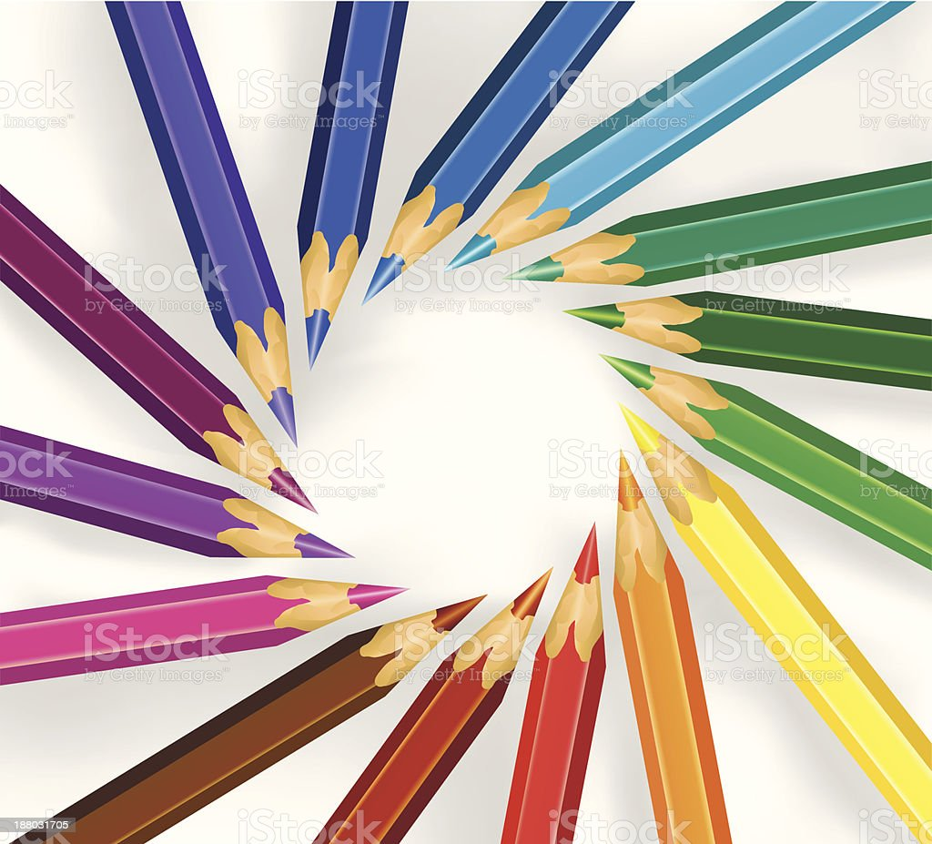 colored pencils in a circle royalty-free stock vector art