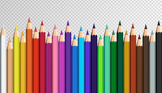 Colored pencils laying in row. Colorful rainbow set