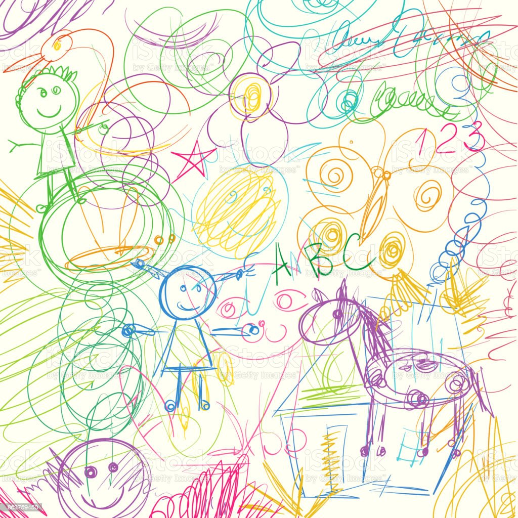 Colored pencils scribbles made by a little kid vector art illustration