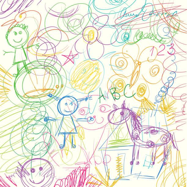küçük bir çocuk tarafından yapılan renkli kalem scribbles - kids drawing stock illustrations