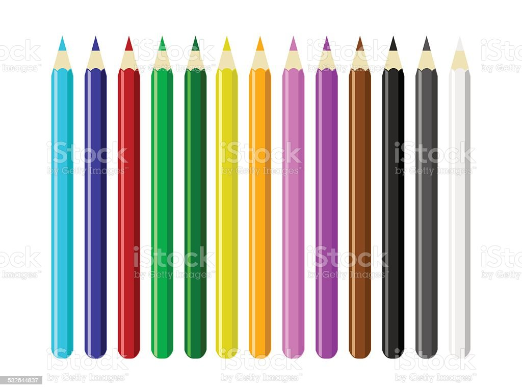 Colored Pencils vector art illustration