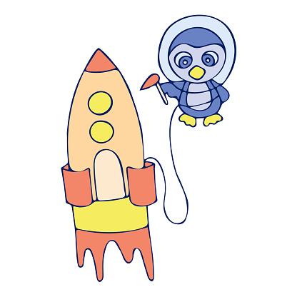Colored penguin with a rocket doodle sketch illustration.