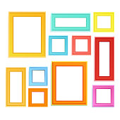 Multi colored photo frames for children picture and memory  photo composed in composition.