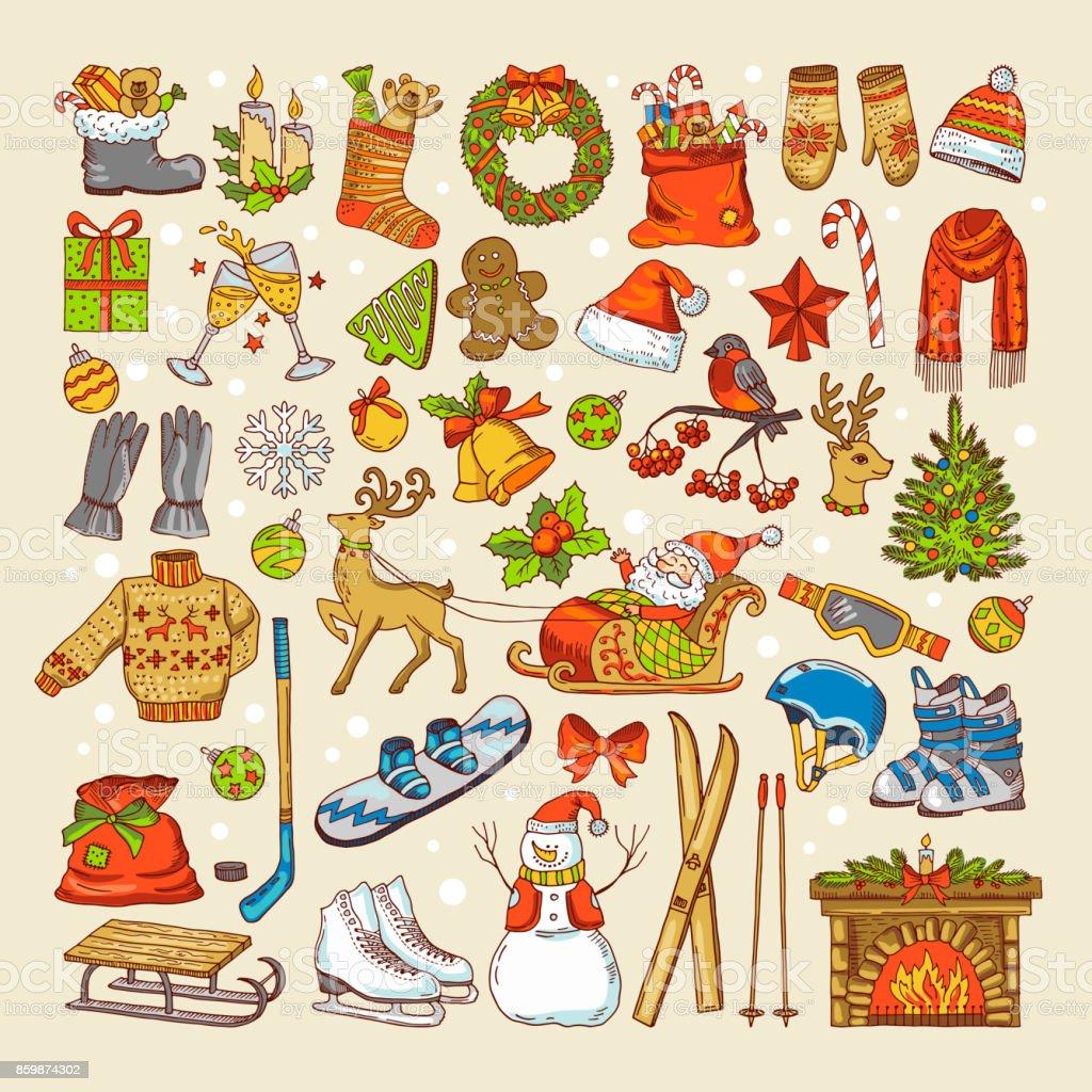 Renkli Resimler Noel Oyuncak Ve Kis Mevsimi Belirli Nesneler Stok