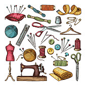 Colored pictures of different tools for needlework or sewing workshop. Color drawing vintage handmade equipment, needlework accessory. Vector illustration