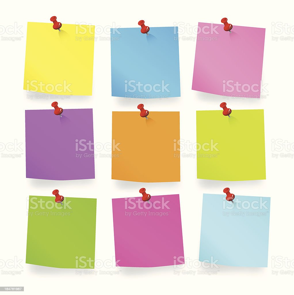 Colored pieces of Blank Notes vector art illustration