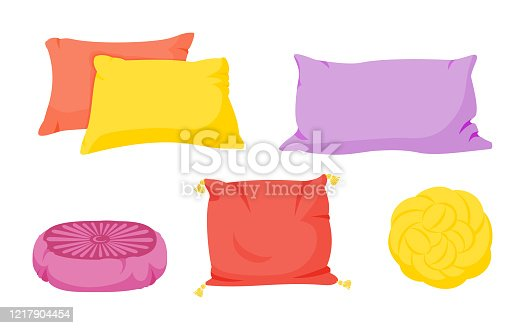 Colored pillow flat cartoon set. Home interior textile. Pillows square, knot with tassels, pillow pouffe mockup template. Feather, bamboo eco fabric. Colorful cushion design. Vector illustration