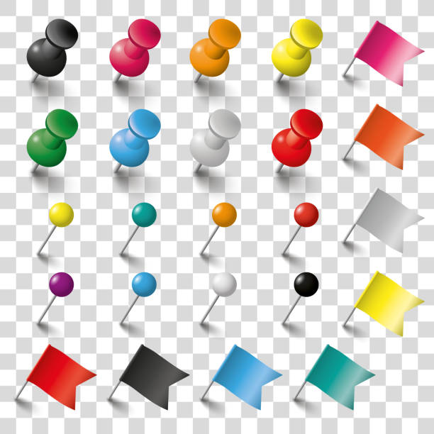 kolorowe piny flagi i tacks set przezroczysty - przypinka stock illustrations