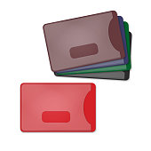 Colored plastic card holders. Coloured blank empty credit card sleeve set. Realistic vector illustration.