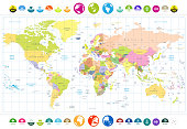 Colored political World Map with round flat icons