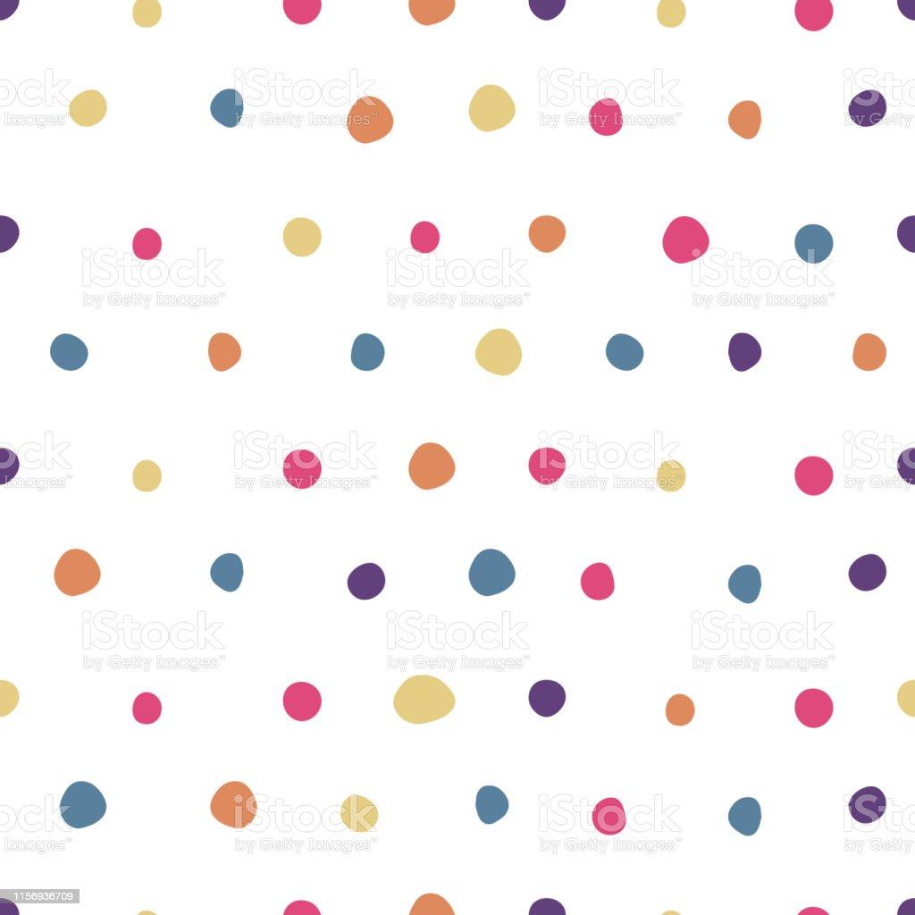 色付きの水玉模様シームレスパターンかわいい壁紙 お祝いのベクター
