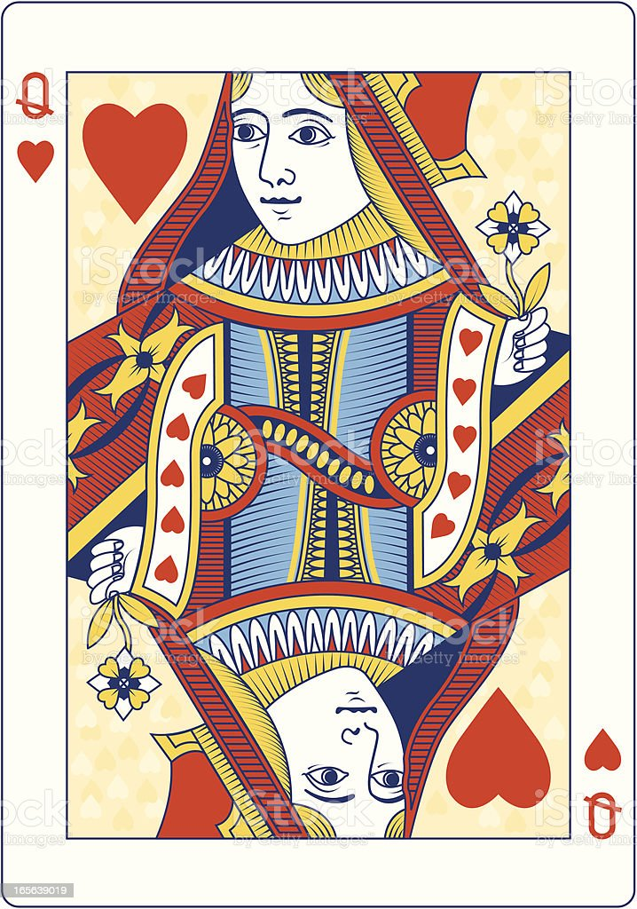 Colored Queen of Hearts playing card vector art illustration