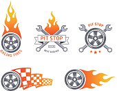 Colored racing tires and service vector emblems. flat design