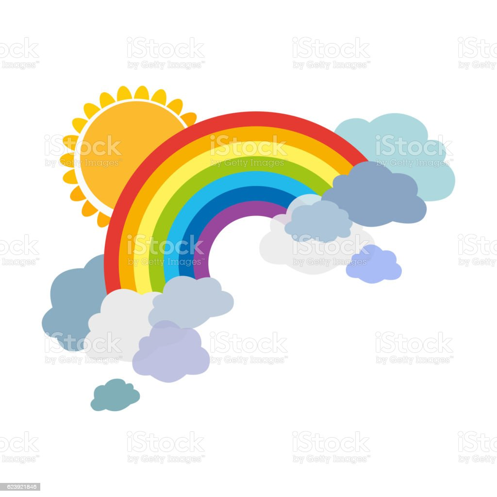 Colored rainbows with clouds and sun. Cartoon illustration isolated on vector art illustration