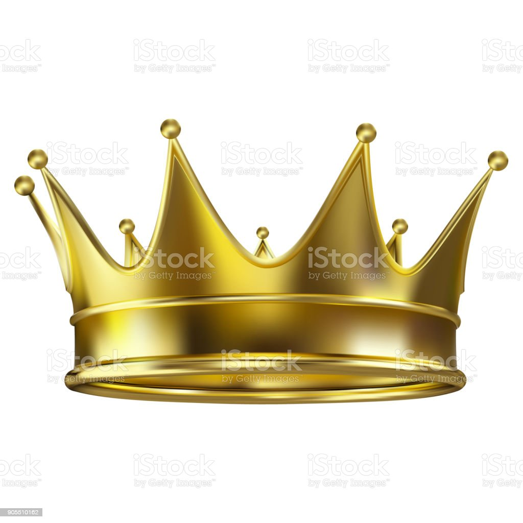 Colored realistic royal crown of gold