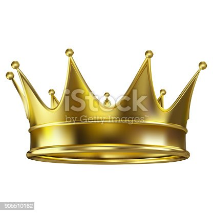 istock Colored realistic royal crown of gold 905510162