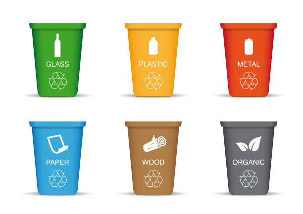Colored recycling bin Eps10 vector illustration with layers (removeable) and high resolution jpeg file included (300dpi). bottle bank stock illustrations