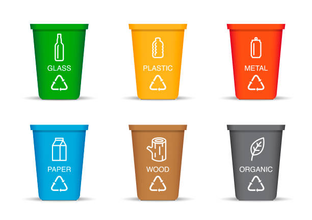 Colored recycling bin Eps10 vector illustration with layers (removeable) and high resolution jpeg file included (300dpi). container stock illustrations