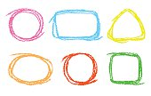 Set of funny copyspace. Colorful pastel chalk crayon hand drawing frames, vector background.
