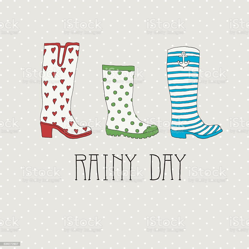Colored rubber boots vector set vector art illustration