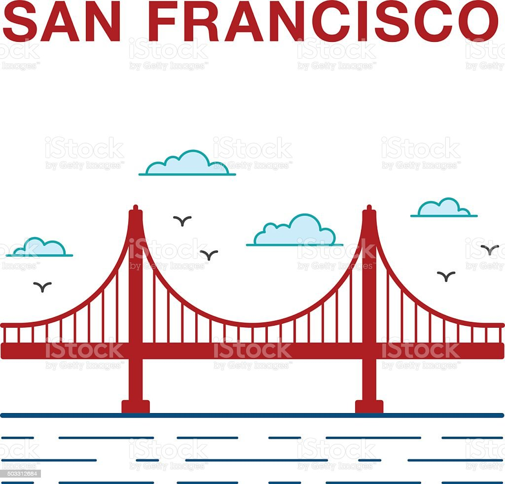 Colored San Francisco Golden Gate Bridge. vector art illustration