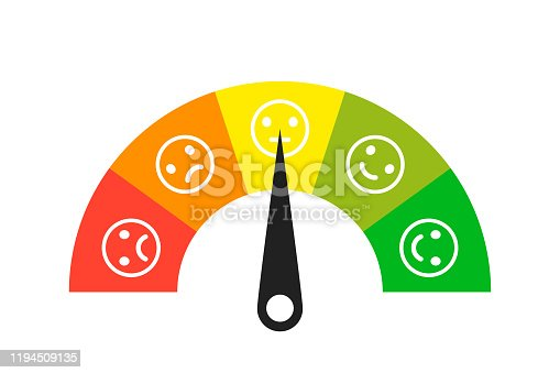 istock Colored scale. Gauge. Indicator with different colors. Emoji faces icons. Measuring device tachometer speedometer indicator. Vector isolated illustration. 1194509135