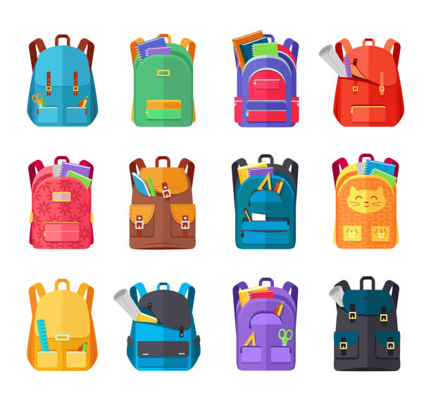 stockillustraties, clipart, cartoons en iconen met gekleurde school rugzakken set - schooltas