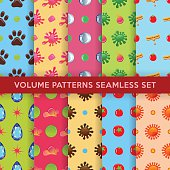 Colored seamless blobs, drops pattern set
