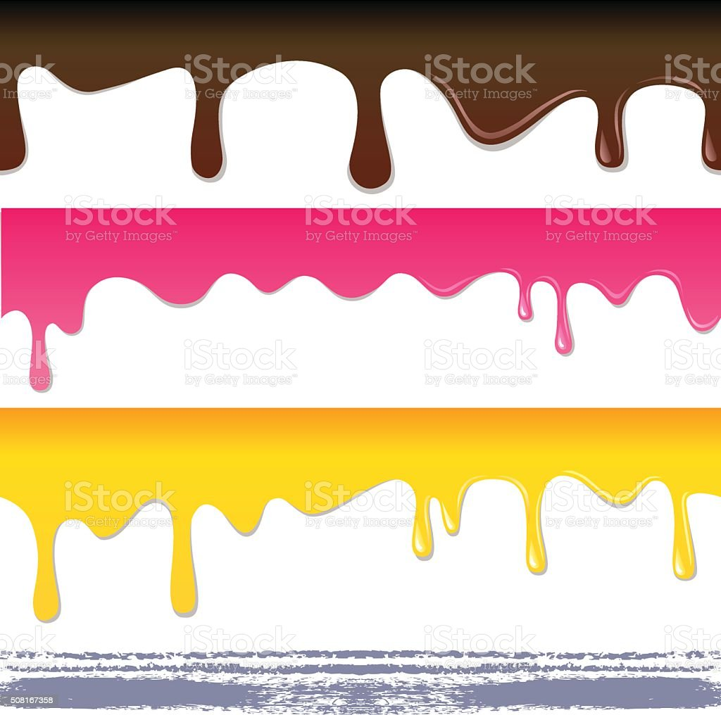 Colored seamless drips vector art illustration