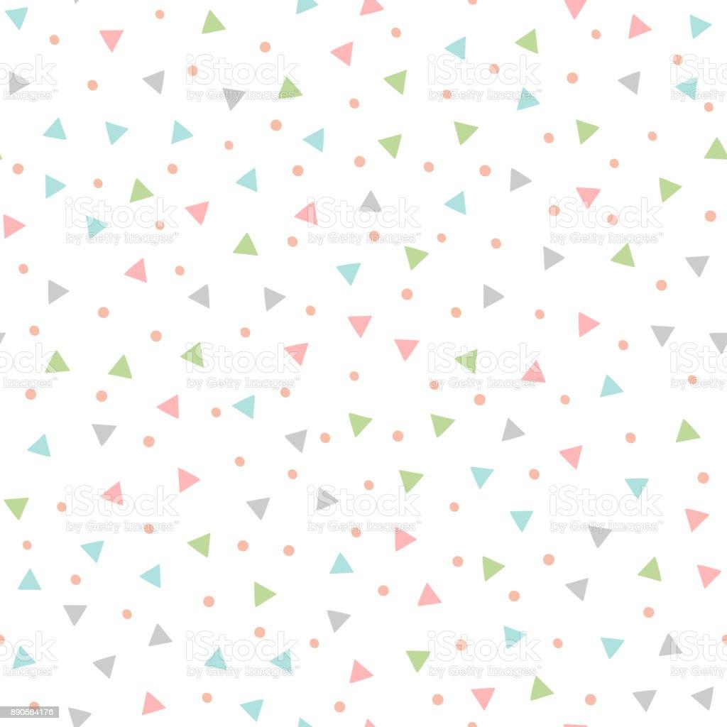 Farbige nahtlose Muster mit sich wiederholenden Dreiecke und runden Flecken. Von hand gezeichnet. - Lizenzfrei Abstrakt Vektorgrafik