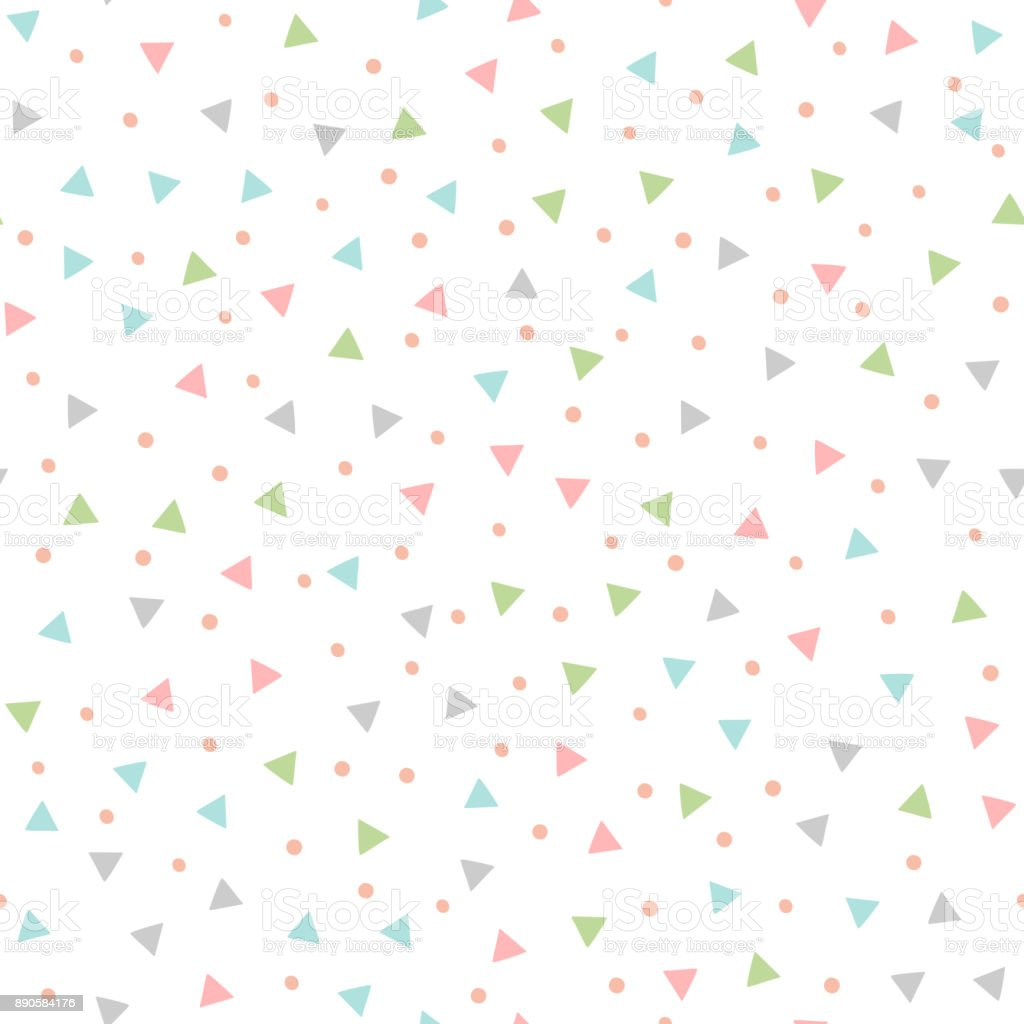 Colored seamless pattern with repeating triangles and round spots. Drawn by hand.
