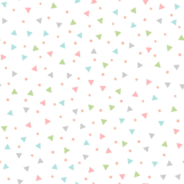 colored seamless pattern with repeating triangles and round spots. drawn by hand. - cute stock illustrations