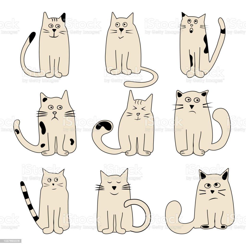 Ilustración De Conjunto Color Gatos Ingenio Diferentes Emociones