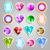 Colored Set Gems Vector. Bright Realistic Gemstones Icons. Different Cuts And Colors. Isolated Illustration