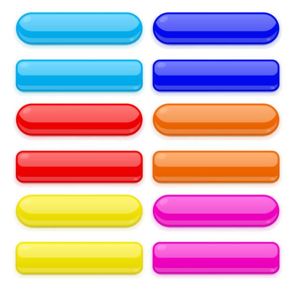 彩色3d 玻璃鈕扣系列向量藝術插圖