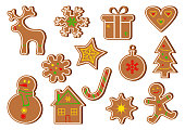Colored set of Gingerbread, cookie. Vector illustration
