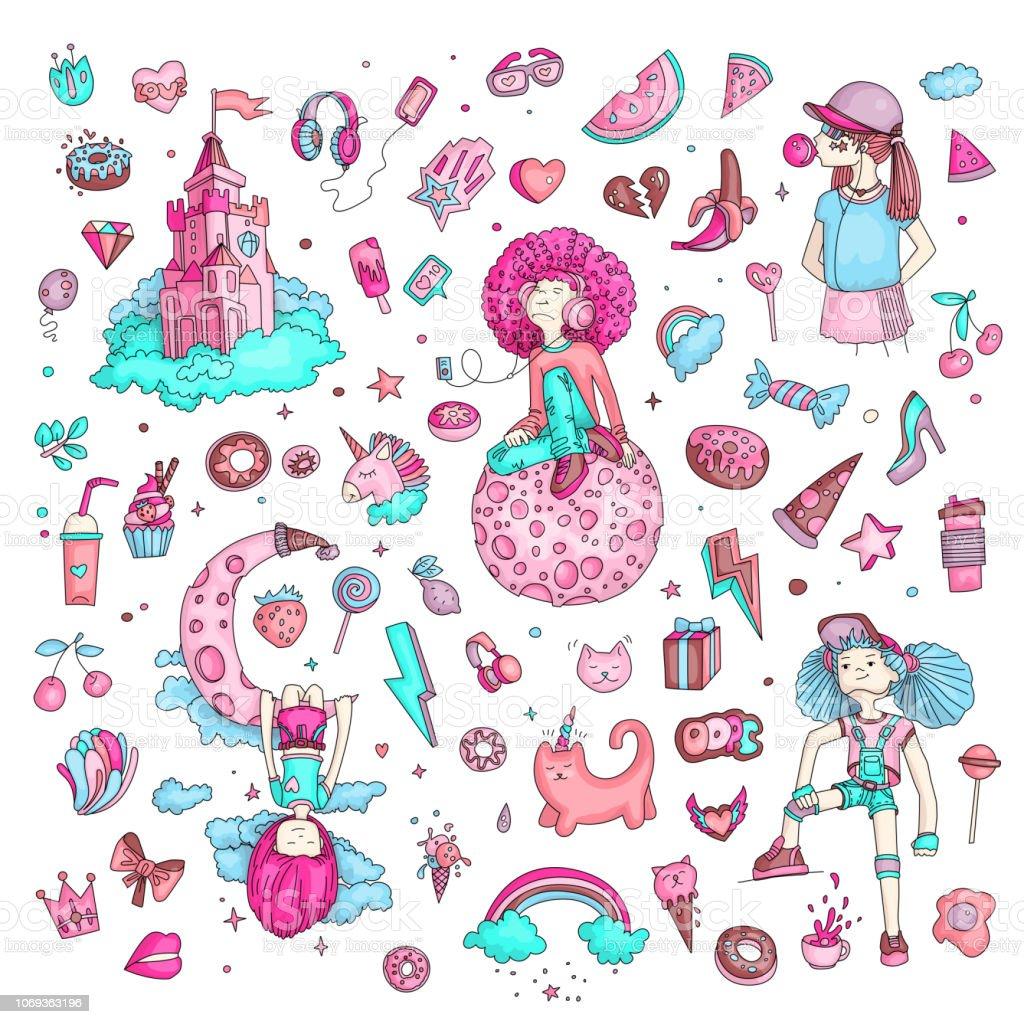 58f018a556900 Ilustración de Conjunto De Iconos De Adolescente Objetos Teen Cute ...