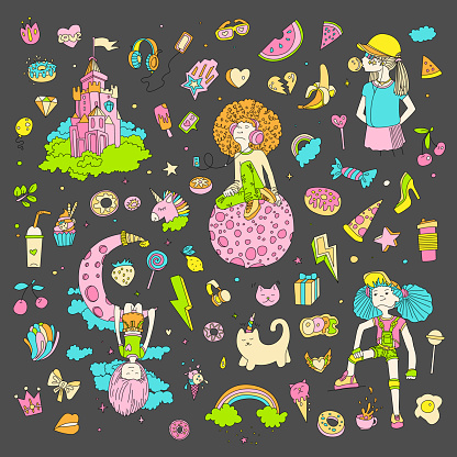 Colored Set of teenage girl icons, cute cartoon teen objects, fun stickers design vector in teenager girls concept. Doodle icon set for teenagers. Colored hand drawn pizza, unicorn, sweets