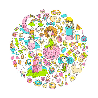Colored Set of teenage girl icons, cute cartoon teen objects, fun stickers design vector in teenager girls concept. Doodle icon set for teenagers. Colored hand drawn pizza, unicorn, sweets in round form.