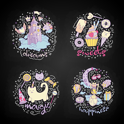 Colored Set of teenage girl icons, cute cartoon teen objects, fun stickers design vector such as magic castle, cupcake, cat unicorn and girl dreaming on the moon. Doodle icon set with round decoration