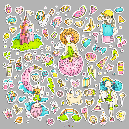 Colored Set of teenage girl stickers, cute cartoon teen patches, fun stickers design vector in teenager girls concept. Doodle icon set for teenagers. Colored hand drawn pizza, unicorn, sweets