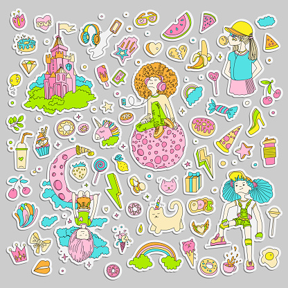 Colored Set of teenage girl stickers, cute cartoon teen patches, fun stickers design vector in teenager girls concept. Doodle icon set for teenagers. Colored hand drawn pizza, unicorn, sweets.