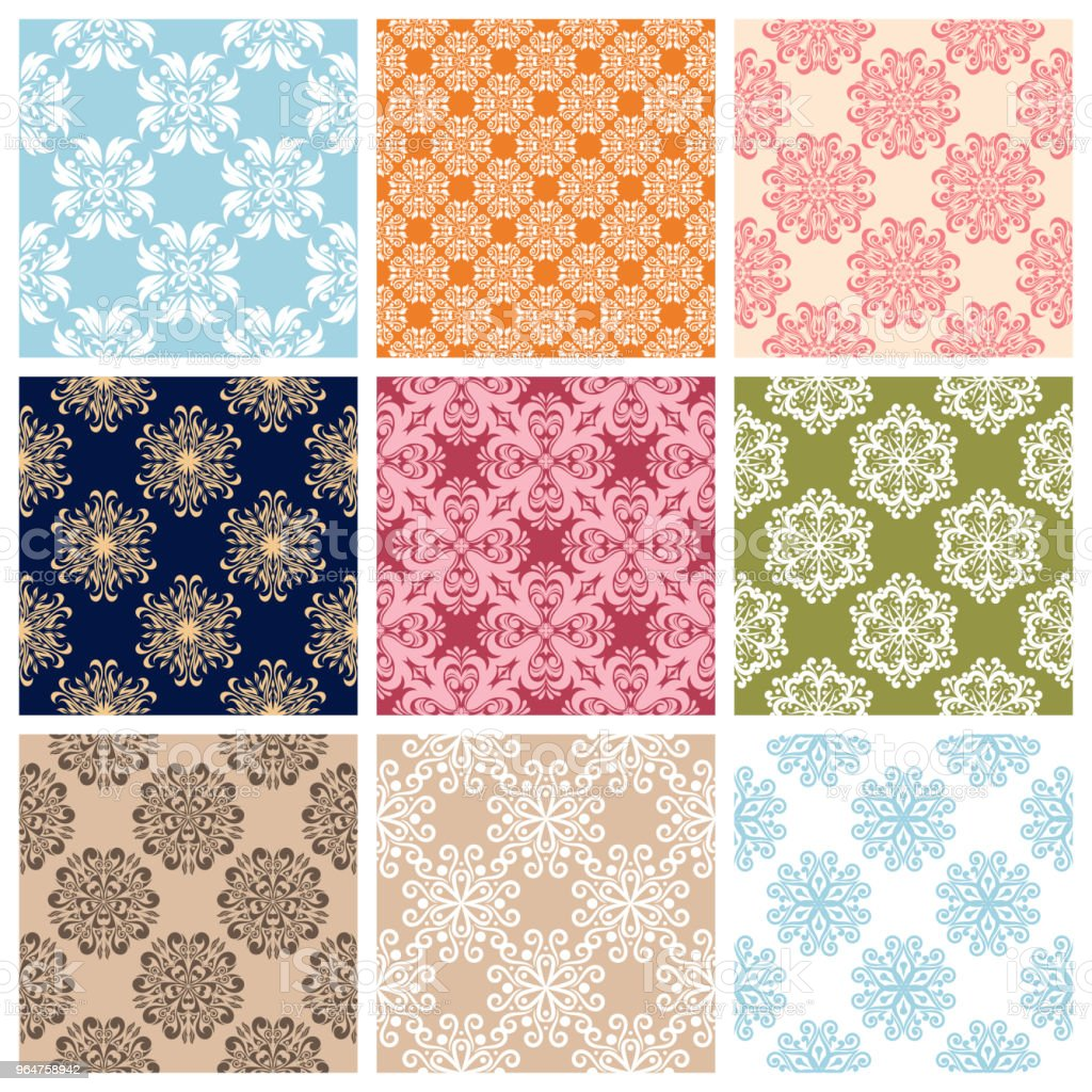 Colored set with flower elements. Floral seamless pattern. royalty-free colored set with flower elements floral seamless pattern stock vector art & more images of abstract