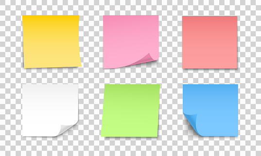 Colored sheets of note papers set. Collection of sticky notes with curl and shadow. Realistic paper stickers for your message. Design element for advertising and promotional.