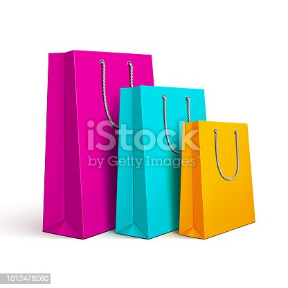 Vector illustration of colored shopping bags.