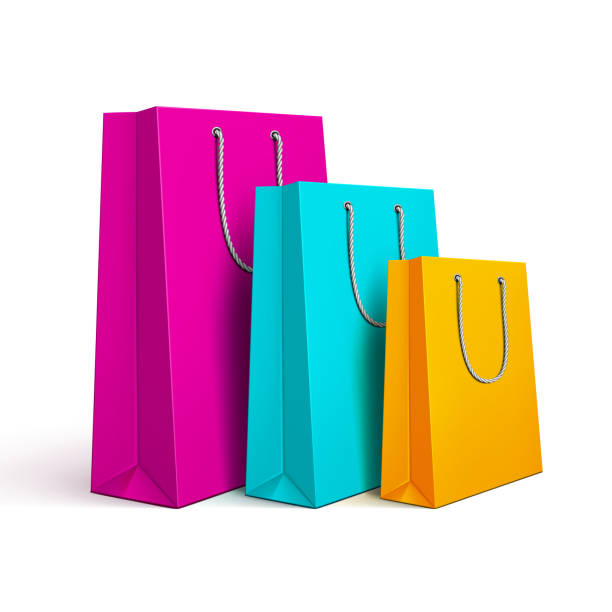 illustrazioni stock, clip art, cartoni animati e icone di tendenza di colored shopping bags - acquisti