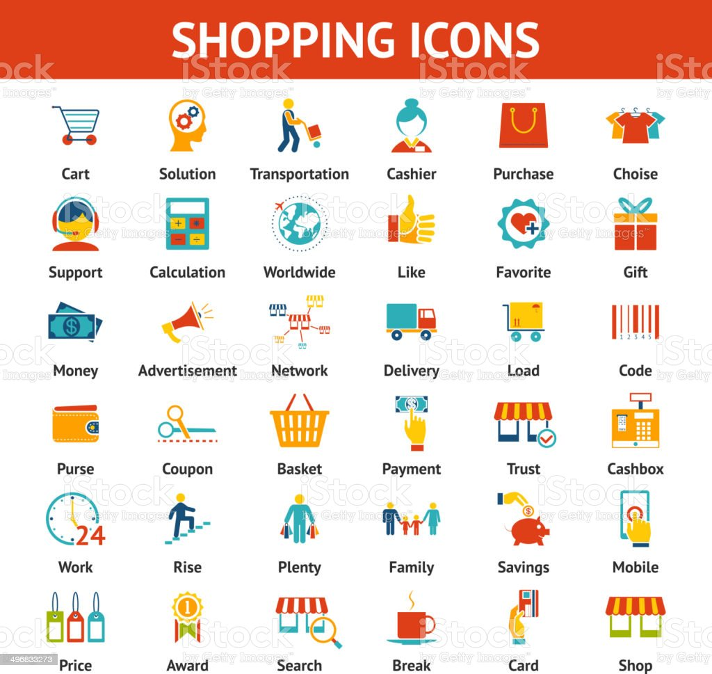Colored Shopping Icons vector art illustration