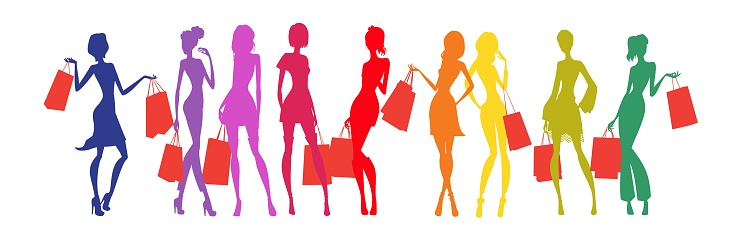 Colored silhouettes of women holding shopping bags in their hands.